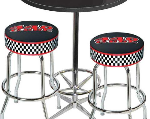 OER Table & Stool Set - Mopar 440 6-Bbl Logo - Chrome Based Table With Foot Rest & 2 Chrome Stools *MD67712