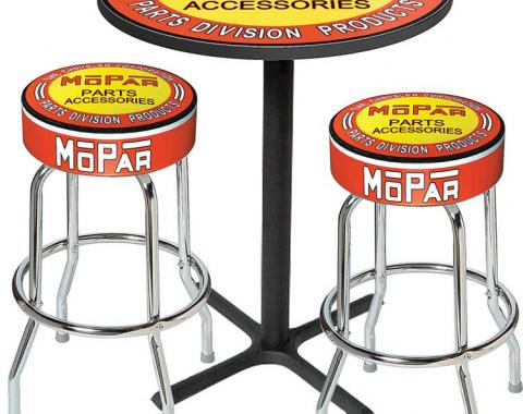 OER Mopar Orange/Yellow Logo Pub Table & Stool Set - Black Base With 2 Chrome Stools (3-Pc), Style 6 *MD67506