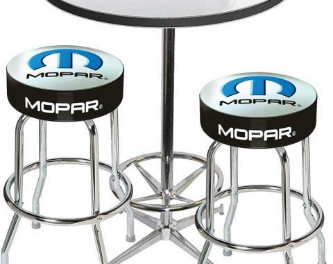 OER 2001-13 Mopar Logo Pub Table & Stool Set - Chrome Based Table With Foot Rest & 2 Chrome Stools *MD67708