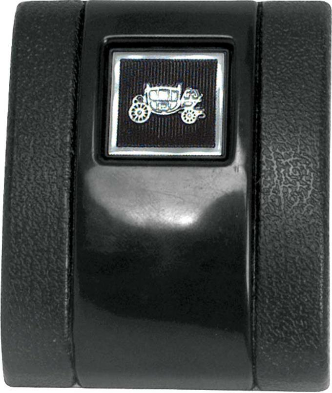 OER 1966-67 Black Standard Interior Seat Belt Cover with Fisher Coach Emblem K883F