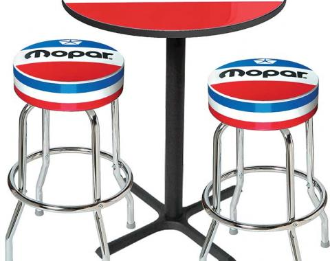 OER Mopar Logo Pub Table & Stool Set - Black Base Table With 2 Chrome Stools (3-Pc) - Style 7 *MD67507