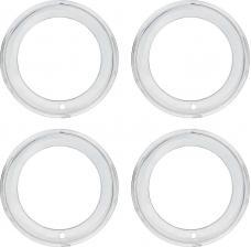 "OER 15"" Chrome 2-3/8"" Deep Step Lip Rally Wheel Trim Ring Set 748566"