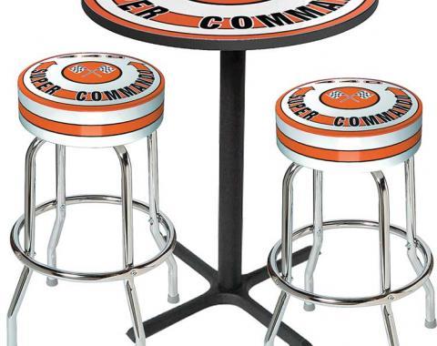 OER Table & Stool Set - Mopar 440 Super Commando Logo - Black Based Table With Chrome Stools (3-Pc) *MD67509