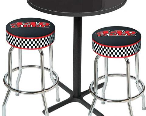 OER Table & Stool Set - Mopar 440 6-Bbl Logo - Black Based Table With Chrome Stools (3-Pc), Style 12 *MD67512