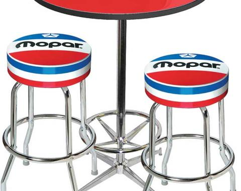 OER Mopar Logo Pub Table & Stool Set - Chrome Based Table With Foot Rest & 2 Chrome Stools, Style 7 *MD67707