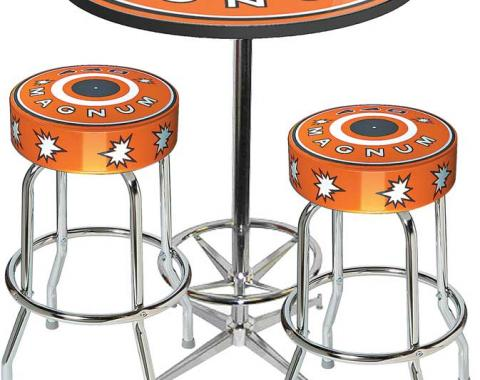 OER Table & Stool Set - Mopar 440 Magnum - Chrome Base Table W/ Foot Rest & 2 Chrome Stools, Style 11 *MD67711