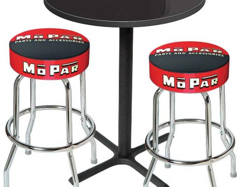 OER Mopar Black/Red Logo Pub Table & Stool Set - Black Base With 2 Chrome Stools (3-Piece), Style 3 *MD67503